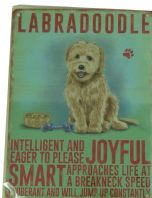 LABRADOODLE DOG HUMOUROUS CHARACTER METAL SHABBY CHIC PLAQUE.....